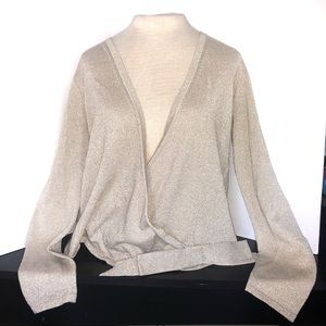 Shimmery Gold Knit Wrap Cardigan Sweater